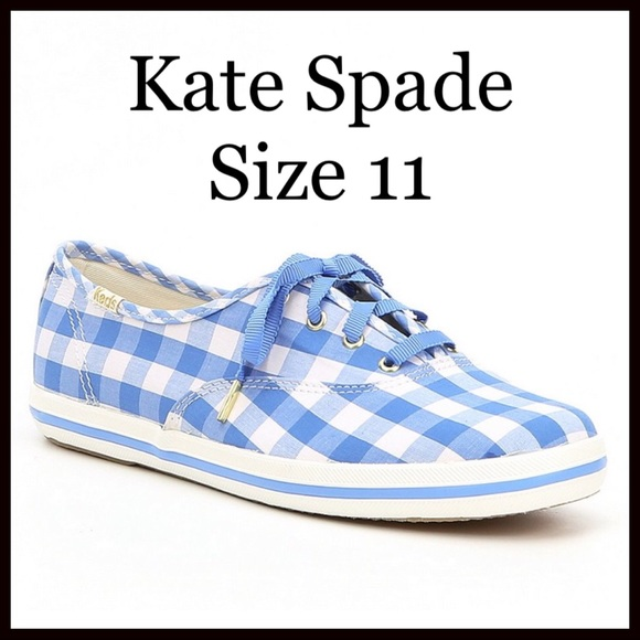 dc77e2e807af NIB Kate Spade Blue Gingham Sneakers Size 11